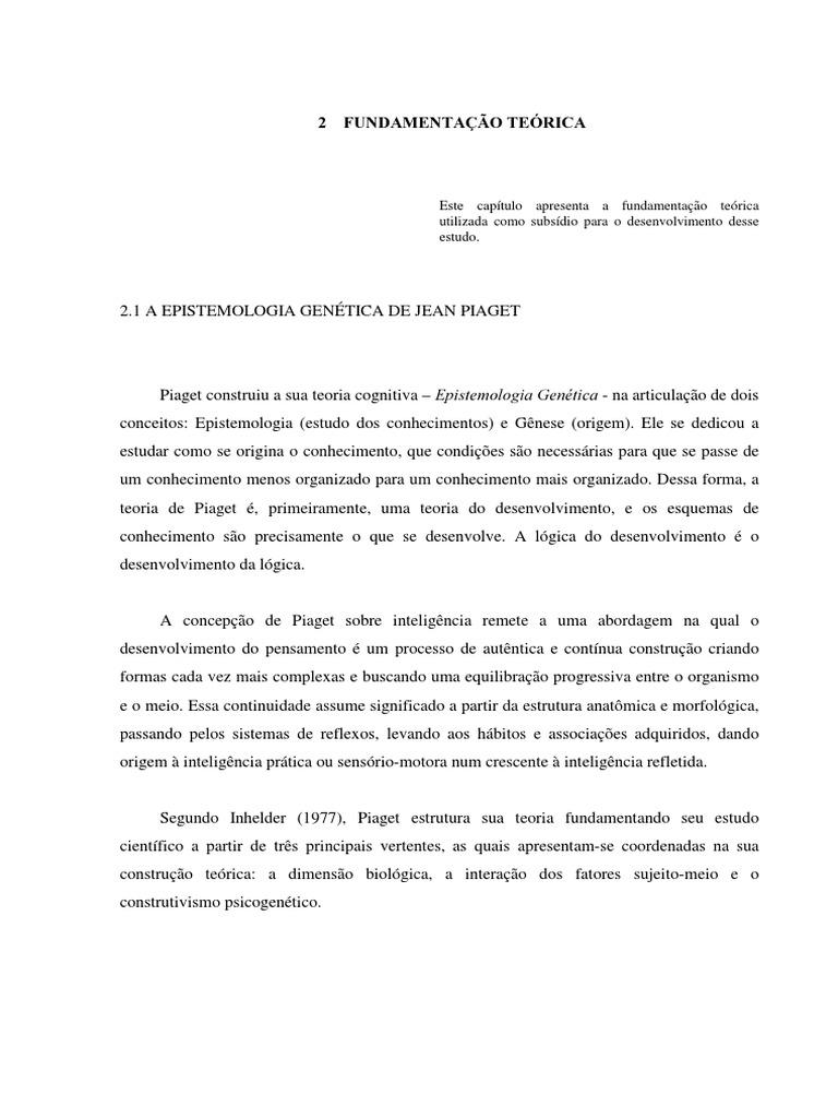 dfda5964744 A EPISTEMOLOGIA GENÉTICA DE JEAN PIAGET