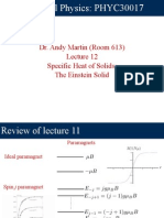 Lecture 12 - Specific Heat of Solids; The Einstein Solid