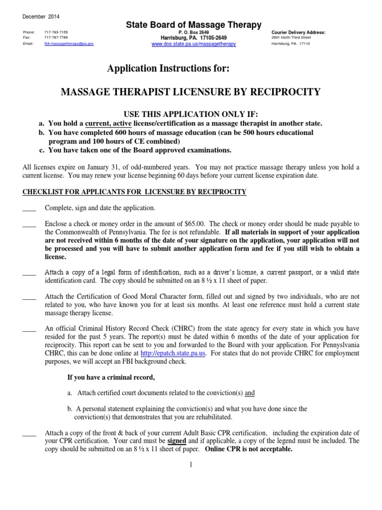 Massage Therapist By Recip App Licensure Government
