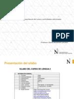 Presentación Del Sílabo, Importancia Del Curso y Actividades Adicionales. LENGUA 2