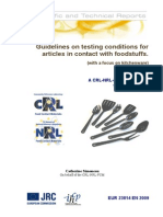 Guidelines on Testing Conditions for Articles in Contact With Foodstuffs...