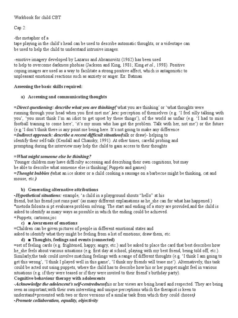 Workbooks tf cbt workbook for children : Workbook for Child CBT | Cognitive Behavioral Therapy | Psychology ...