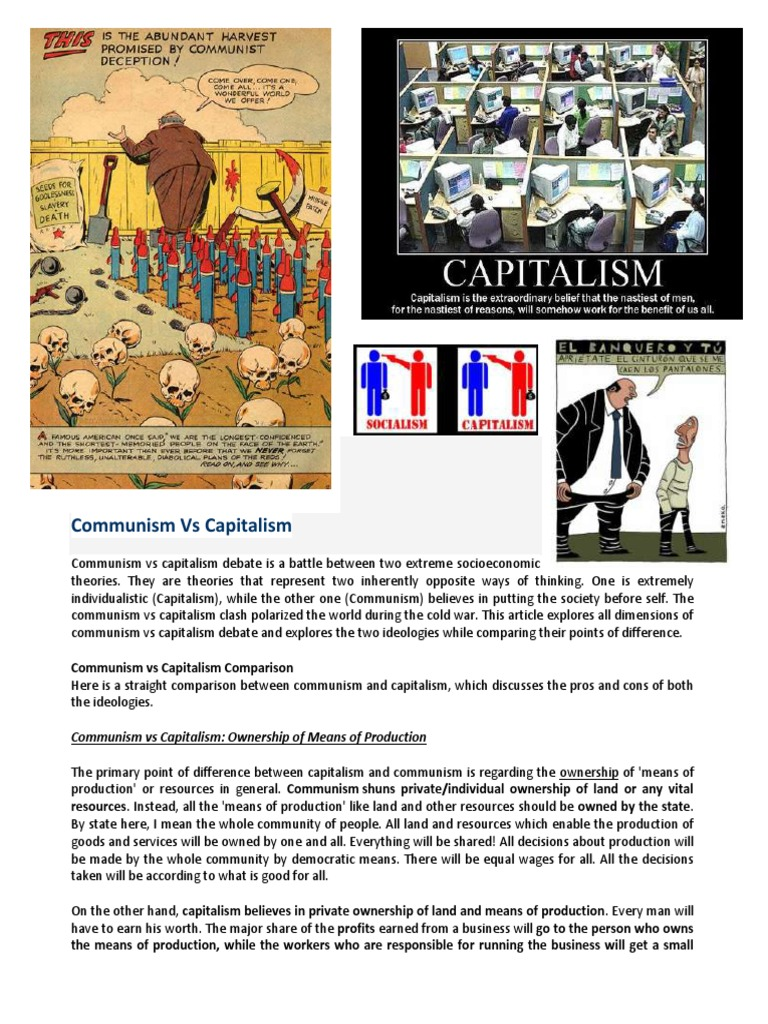 communism capitalishaham pro con socialism communism