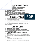 Characteristics of Plants Notes