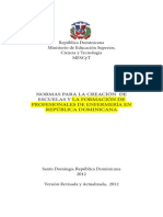 17 Normas Para La Creacion de Escuelas y La Formacion de Profesionales de Enfermeria en Rd