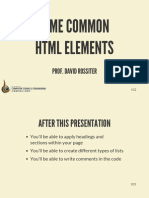 Some Common HTML Elements