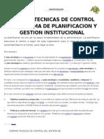 Normas Tecnicas de Control Del Sistema de Planificacion y Gestion Institucional