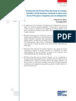Evaluación del Primer Plan Nacional de Cambio Climático mediante la aplicación de los Principios Conjuntos para la Adaptación