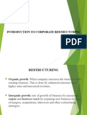 Introduction to Corporate Restructuring | Mergers And Acquisitions