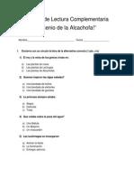 Prueba de Lectura Complementaria, Genio de Alcachofa
