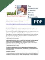 Que Tratamiento Es Bueno Para La Artritis Reumatoide