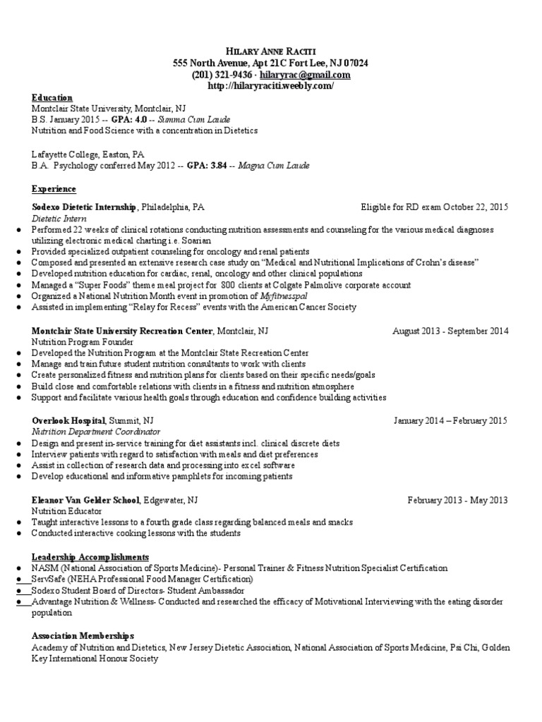 Resume raciti sept dietitian nutrition xflitez Images