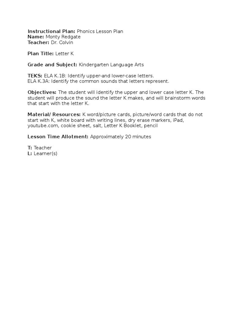 Phonics Lesson Plan Letter Case Phonics