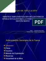 Indices Operacionales Compañia Montecristo