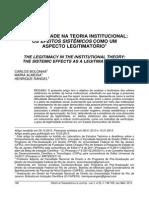 A Legitimidade Na Teoria Institucional Os Efeitos Sistemicos Como Aspecto Legitimatorio
