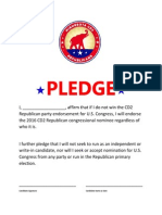2nd Congressional District Republican Party Loyalty Pledge
