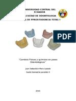 Caracteristicas fisicas y quimicas de los yesos utilizados en odontologia