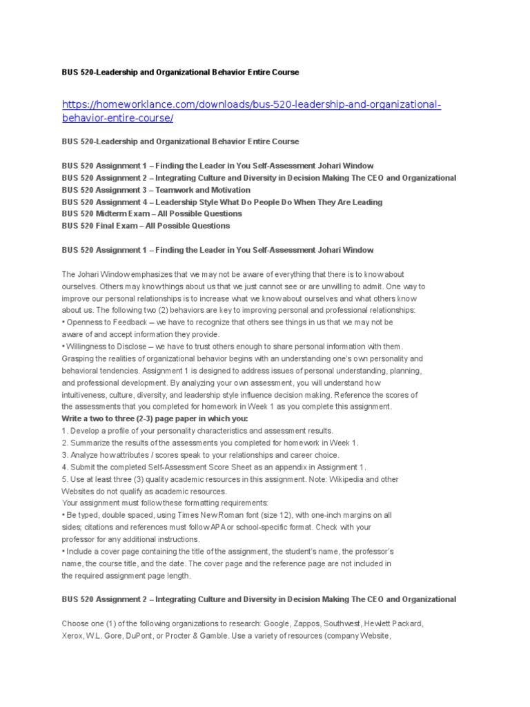 bus leadership and organizational behavior entire course
