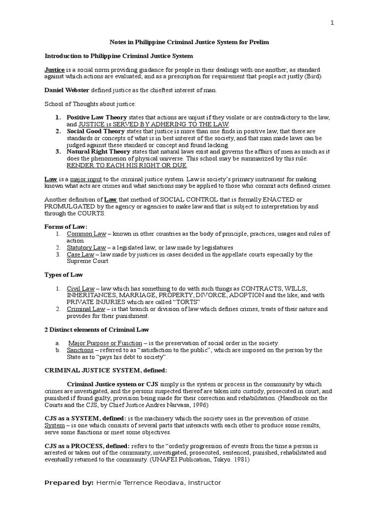 notes in philippine criminal justice system prosecutor criminal justice