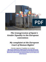 The transgression of Spain's Gender Equality to the European convention