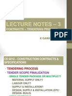LECTURE NOTES - 3 - Tendering Process