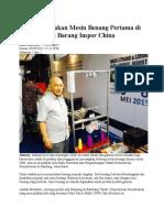 Pria Ini Ciptakan Mesin Benang Pertama Di RI