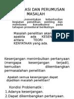 Identifikasi Dan Perumusan Masalah