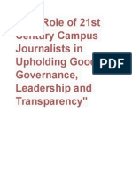 The Role of 21st Century Campus Journalists in Upholding Good Governance