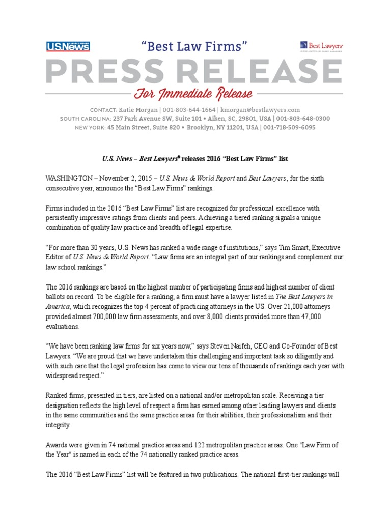 Herman Legal Group: U S  News - Best Law Firms Press Release
