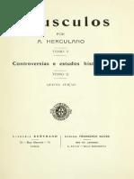 HERCULANO, Alexandre - Opusculos [Cartas]