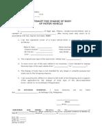 Affidavit of Change of BODY of Motor Vehicle