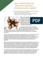 Cmo Trabajar y Evaluar Nios Con Necesidades Educativas Especiales, Integrados Al Sistema Escolar Regular(1)