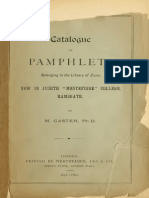 Catalogue of Pamphlets, Belonging to the Library of Zunz