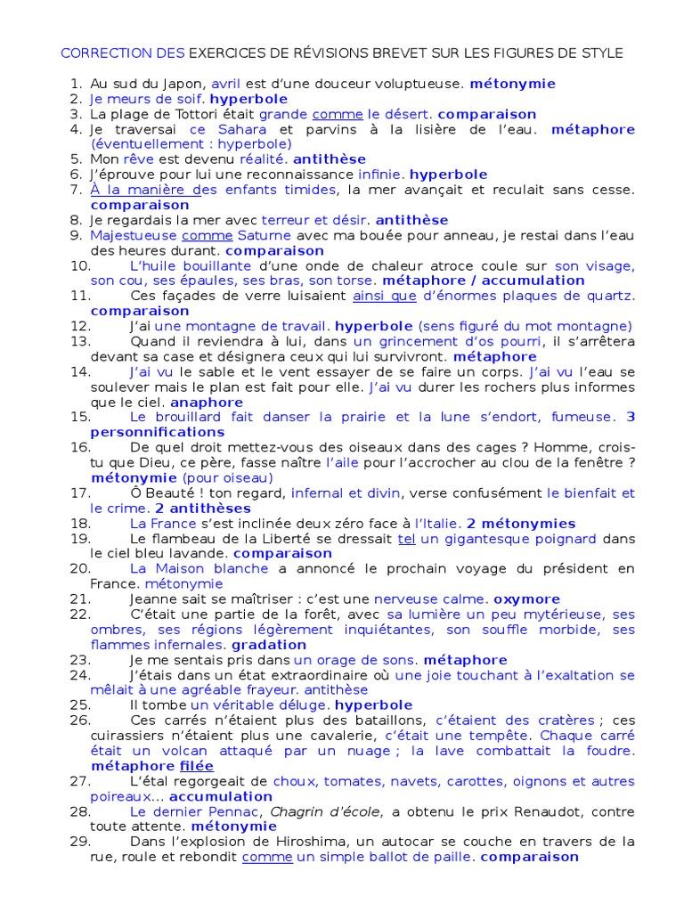 Exercices De Revisions Brevet Sur Les Figures De Style Copie Techniques De Rhetorique Techniques Litteraires