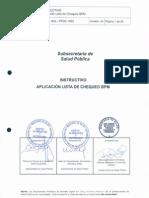 Instructivo Aplicación Lista de Chequeo BPM Versión04 MINSAL 2015
