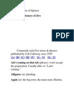 Jive , Hepster Dictionary (JAzz Musicians)