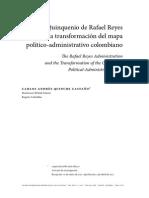 El Quinquenio de Reyes y La Transformacion Del Mapa Politico Administrativo Colombiano