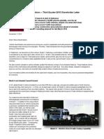 Tesla Motors Q3 2015 Shareholder Letter
