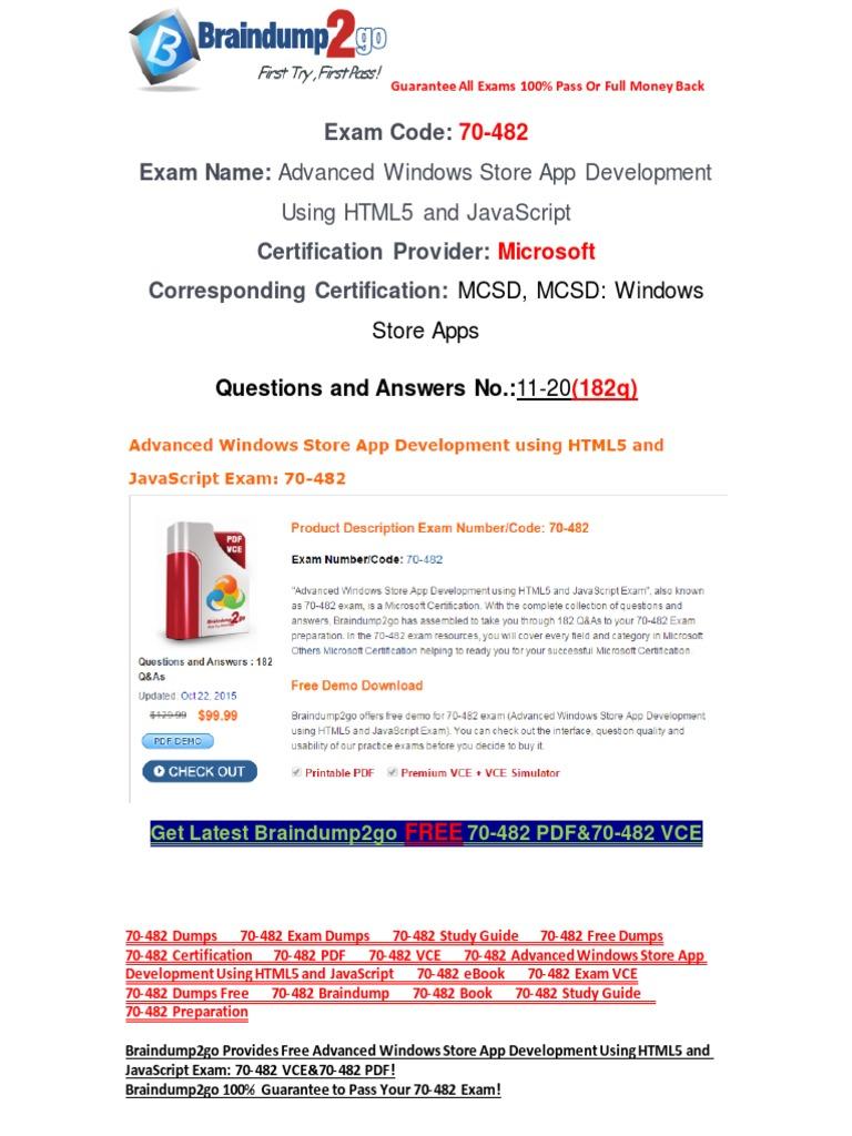 Braindump2go 70 482 Dumps Free Download 11 20 Microsoft Visual