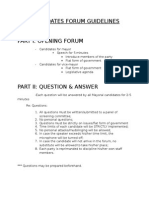 Candidates Forum Guidelines