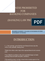 Business Prohibited For Indian banking companies