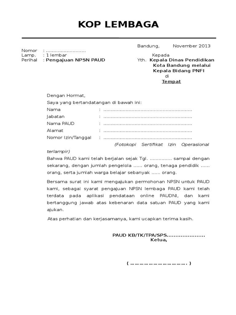 Contoh Surat Pengajuan Npsn Dr Lembaga