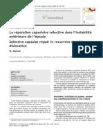 La r Paration Capsulaire s Lective Dans l Instabilit Ant Rieure de l Paule 2008 Revue de Chirurgie Orthop Dique Et R Paratrice de l Appareil Moteur