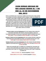 EXPLICACION HORAS HECHAS DE M+üS EN TRES AGUAS DESDE EL 1 DE SEPTIEMBRE AL 30 DE NOVIEMBRE DEL 2013