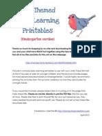 Bird Printables Kindergarten