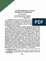Theology, Hermeneutics, and Shattering of Foundations - Carl Raschke