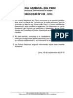 Comunicado PNP N°39 - 2015