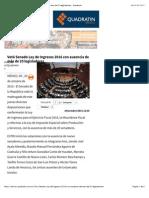 Votó Senado Ley de Ingresos 2016 Con Ausencia de Más de 20 Legisladores - Quadratín