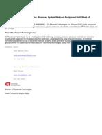 GT Advanced Technologies Inc. Business Update Webcast Postponed Until Week of October 6th