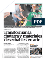 Transforman la 'chatarra' y materiales desechables en arte